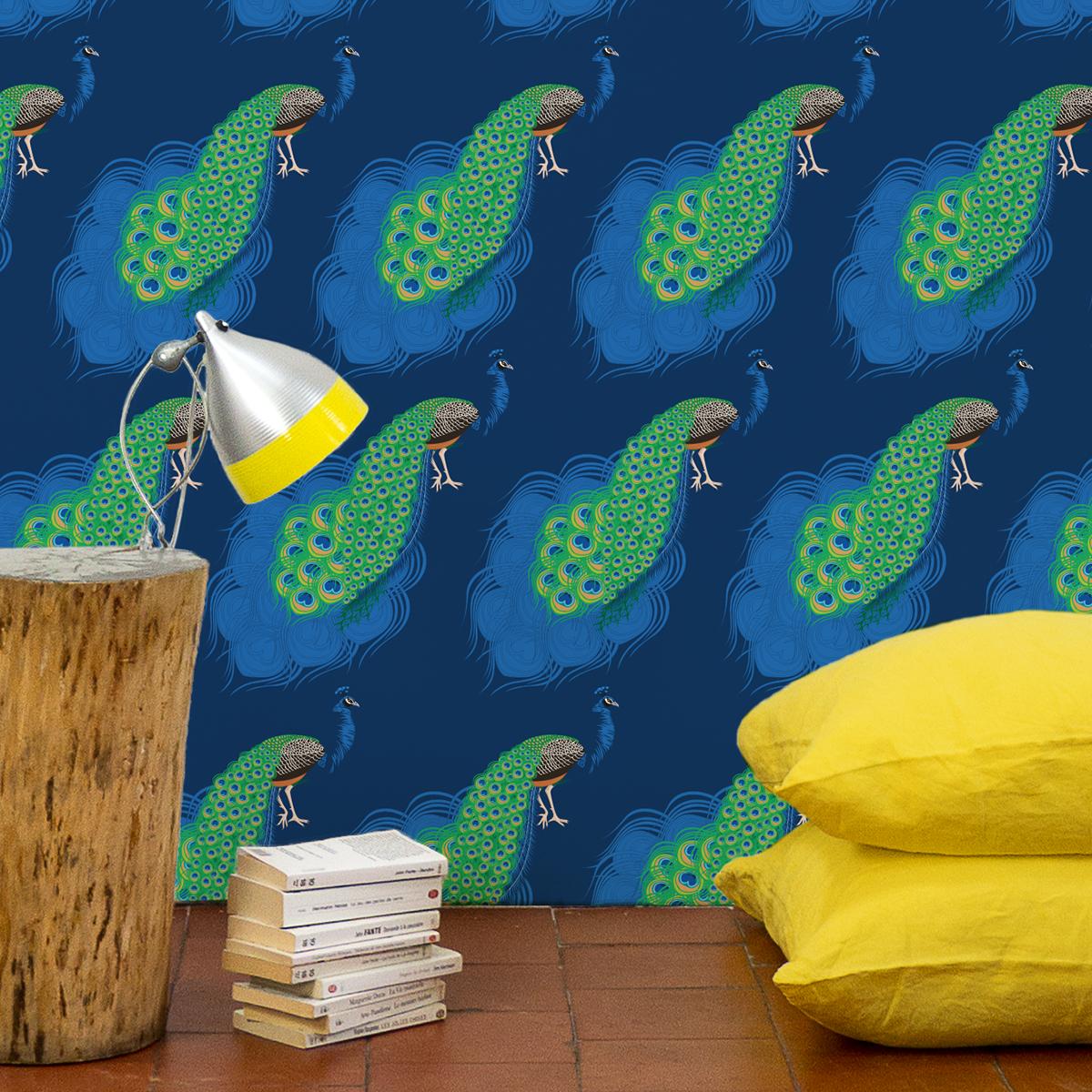 papier peint oiseaux paon fond bleu st phanie desbenoit. Black Bedroom Furniture Sets. Home Design Ideas