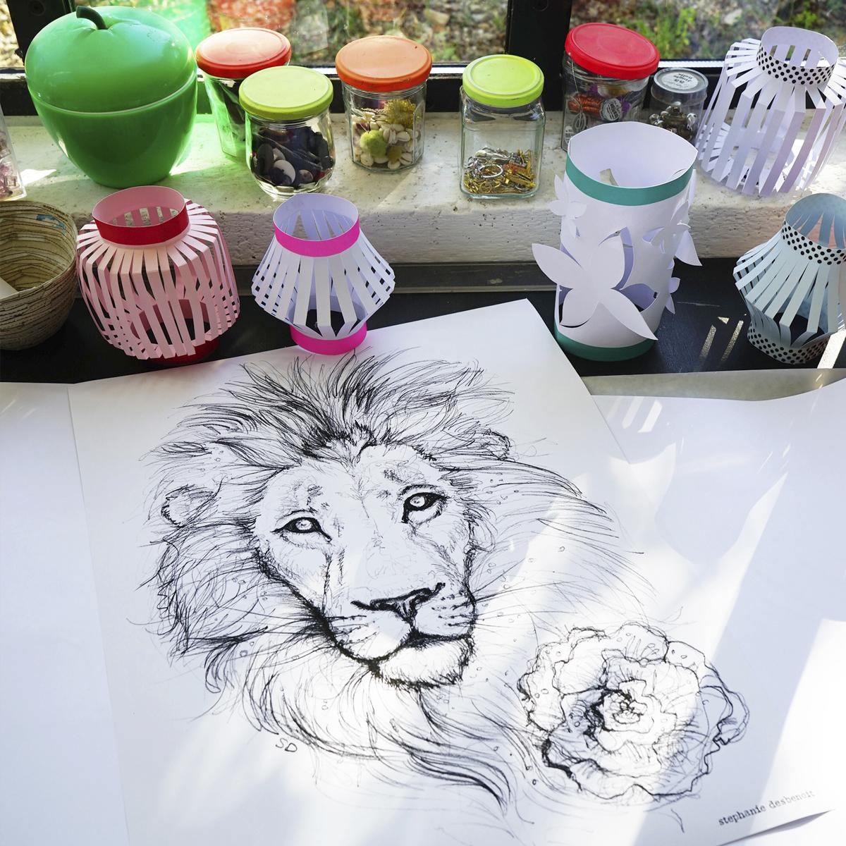 croquis lion